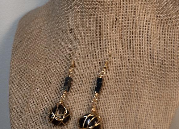 Garnet Hematite Wrap Earrings