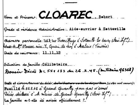 Jeu de piste dans les archives à la recherche de Robert Cloarec, mort pour la France