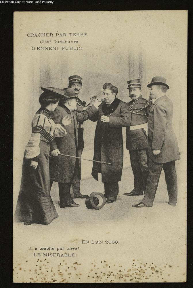 2 - Cracher, un sujet sensible… Carte postale éditée par la Société de préservation contre la tuberculose. Coll. Guy et Marie José Pallardy (Bibliothèque Interuniversitaire de Santé, Paris).