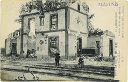 La gare de Sillery (Marne) après un bombardement lors de la Grande Guerre