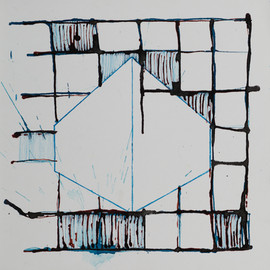 La casa. Serie Reconstruyeno. 2015 [The house from Rebuilding Series] Tinta sobre papel [Ink on paper] 33 x 33 cm [13 x 13 in]