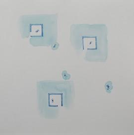 Tres espacios. De la serie Reconstruyendo, 2015 [Three spaces from Rebuilding Series] Acuarela sobre papel [Watercolor on paper] 33 x 33 cm [13 x 13 in]