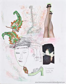 Deborah está de fiesta, 2011 [Deborah is on party] Técnica mixta sobre tela [Mixed media on canvas]50 x 40 cm [19.6 x 15.7 in]
