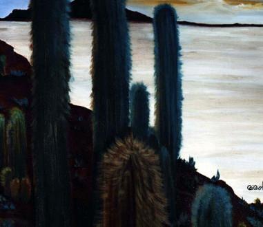 Cardones y salar. 2004. Óleo sobre lienzo. 80 x  80 cm