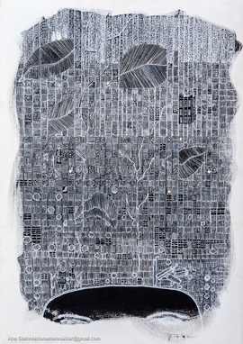 Acomodando cajones. S [Accommodating drawers from Crazy Head Series]  Tinta y acrílico sobre tela [Ink and acrylic on canvas] 70 x 50 cm [28 x 20 in]