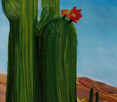 Cactus y flor. 2003. Óleo sobre lienzo. 70 x 50 cm