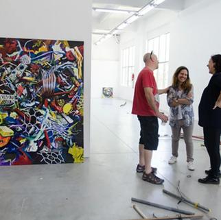 Exposición Diego Figuero 2016 - Centro Cutlural Haroldo Conti (En la foto el artista, y las curadoras Silvina Pirraglia y Maria Lightowler)