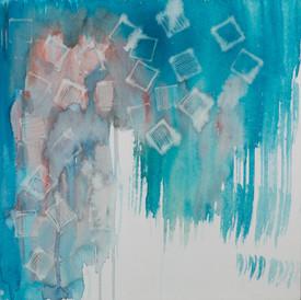Espacios vacíos llenos. De la serie Reconstruyendo, 2015 [Empty spaces filled from Rebuilding Series] Acuarela y tinta permanente sobre papel [Watercolor and permanent ink on paper] 33 x 33 cm [13 x 13 in]