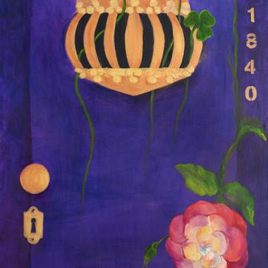 Violeta, yelmo, tréboles y rosa, 2014. Óleo sobre lienzo. 80 x 60 cm