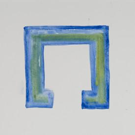 Espacio único. Serie Reconstruyeno. 2015 [Unique space from Rebuilding Series] Acuarela sobre papel [Watercolor on paper] 33 x 33 cm [13 x 13 in]