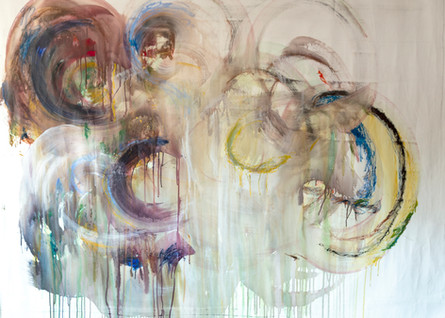 Sin título. Serie Mundos, 2019  [Untitled from World Series] Acrílico, pastel al óleo y óleo sobre tela [Acrylic, oil pastel and oil on canvas] 110 x 148 cm [43 x 58 in]