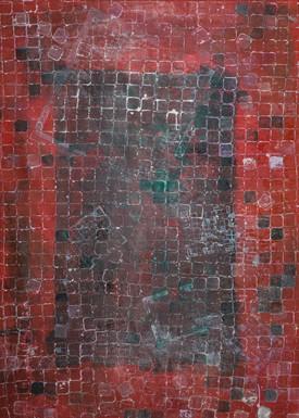 Mas espacios. Serie Reconstruyendo, 2014 [More spaces from Rebuilfing Series] Tinta al alcohol y acrílico sobre tela [Alcohol ink and acrylic on canvas] 200 x 140 cm [79 x 55 in]