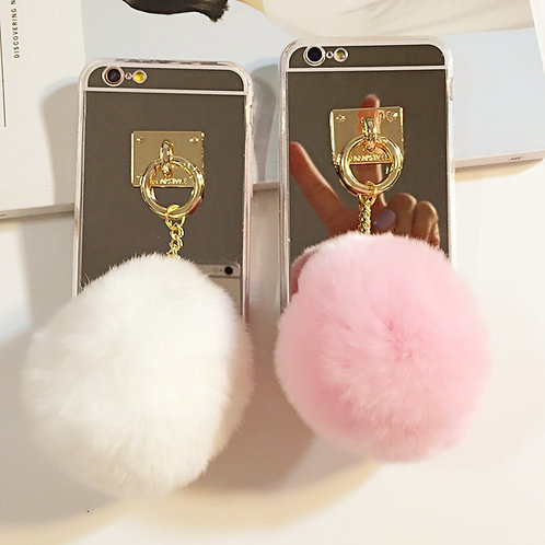 3D Fluff POM POM Phone Back Cover Case with Mirror for iPhone Case    LMT-PH-322