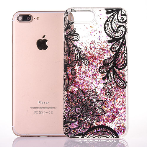 Liquid Quicksand Bling Lace Flower Design Flexible TPU Case           LMT-PH-568