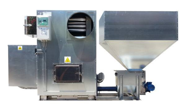 generator aer cald biomasă cu buncar 1m3