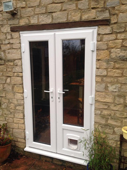 French door with cat flap