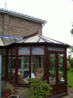 Old wooden P Shape conservatory
