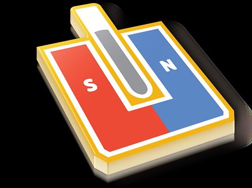 Magnetic Susceptibility Badge Pin - Metallic Hard Enamel