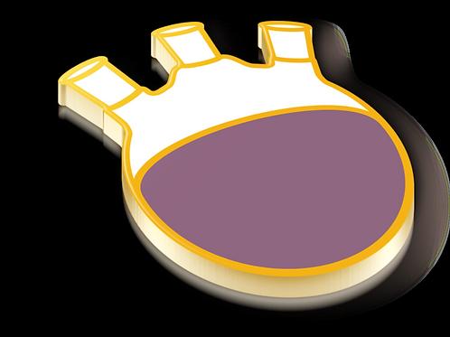 Three Neck Round Bottom Badge Pin - Metallic Hard Enamel