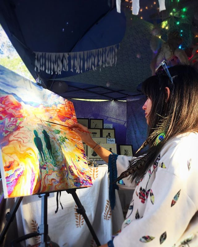Artist Monique Boileau live painting at Lucidity Music Festival