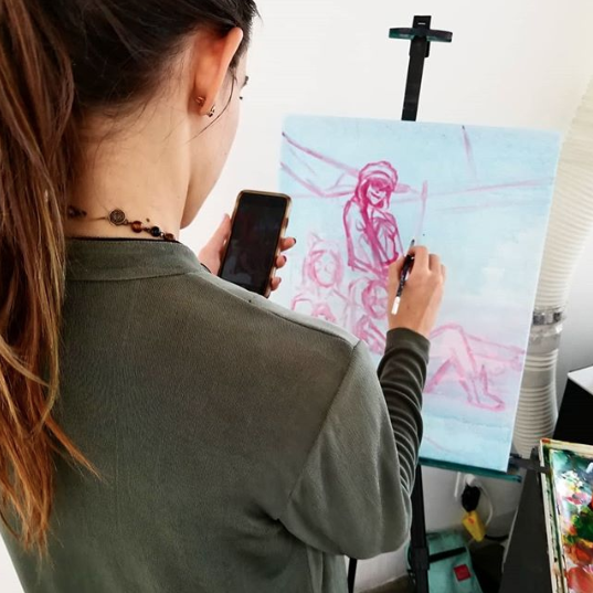 Artist Monique Boileau painting