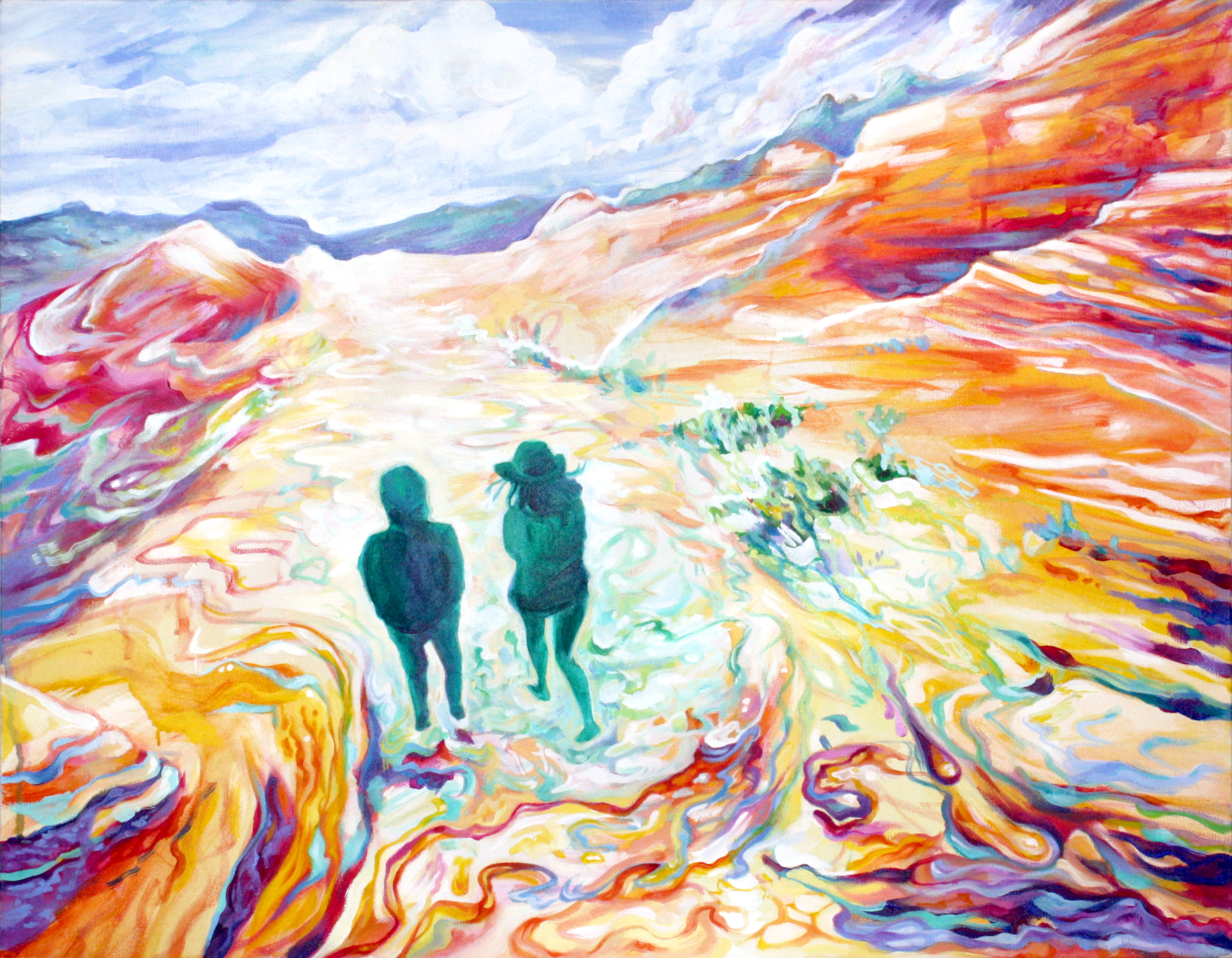 Psychedelic abstract landscape painting of two green figures in a canyon