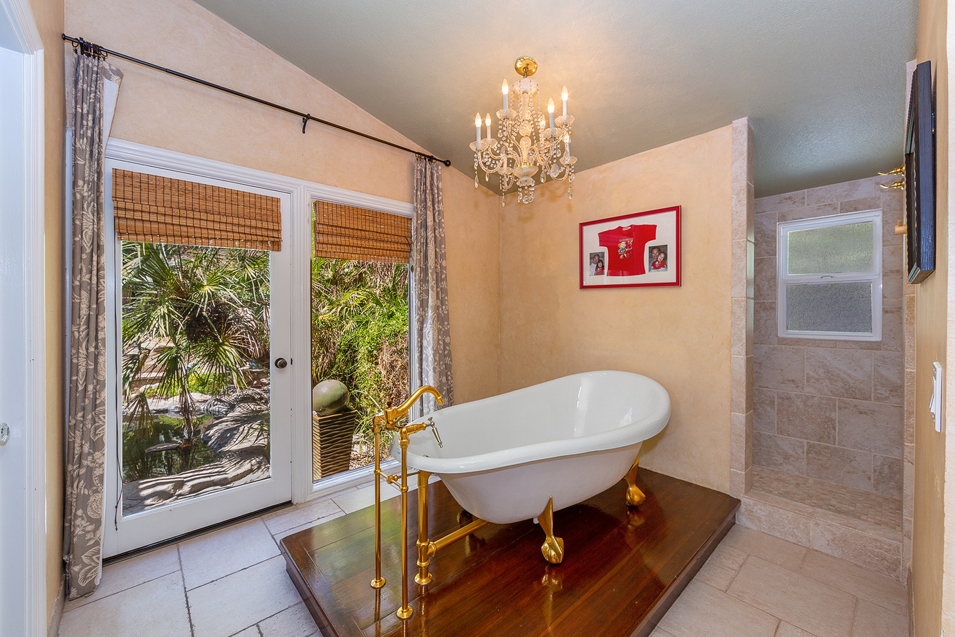 Spa-like Tub & Shower Looking Out to Koi Pond
