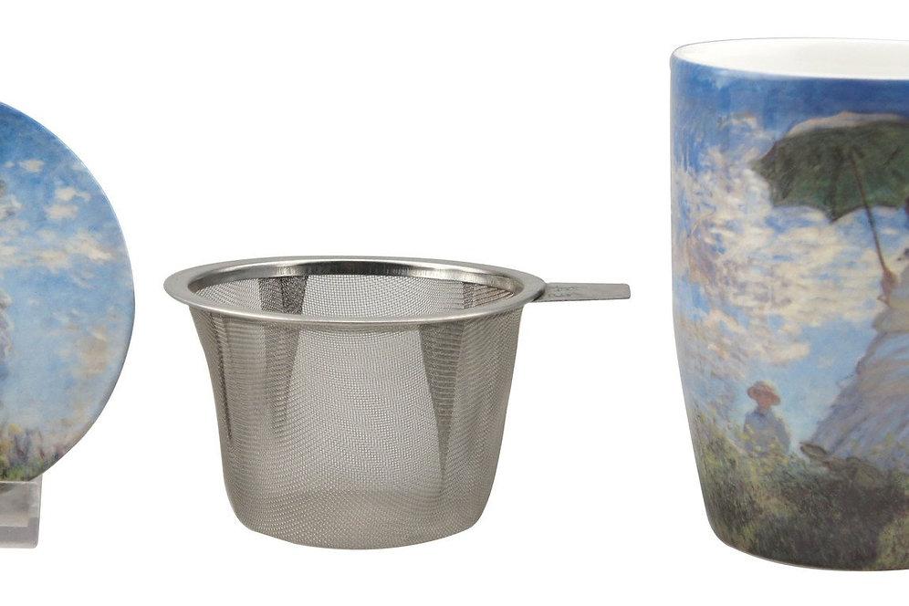 Monet Woman with a Parasol Tea Mug w/ Infuser and Lid | erikastearoom