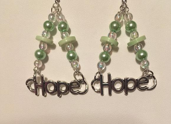 Earrings - Hope Charm - Green Beads