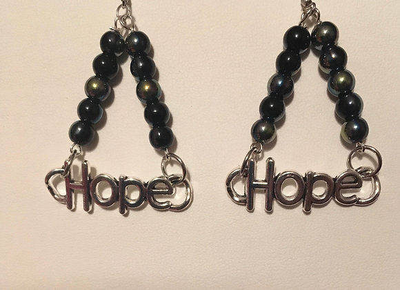 Earrings - Hope Charm - Black Beads