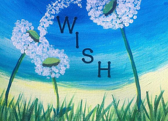 8 x 10 Wish Dandelion Painting