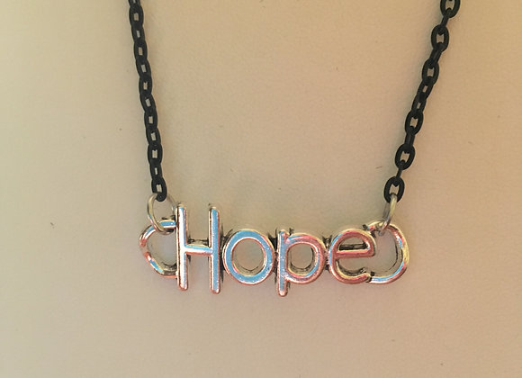 """Necklace (20"""") - Hope Charm - Black Chain"""