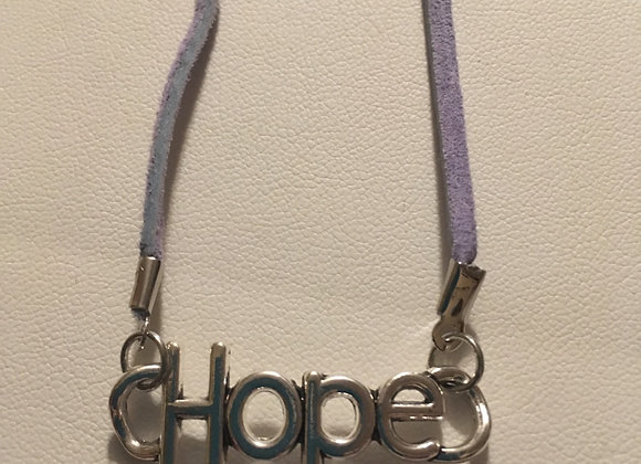 """Necklace (19"""") - Faux Lt Blue Suede - With Hope Charm"""