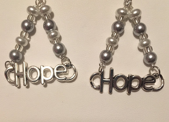 Earrings - Hope Charm - White/Silver Beads