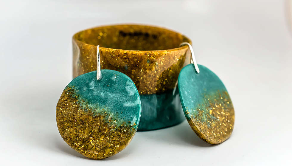Turquoise Gold Resin Set by PAGANE uniques