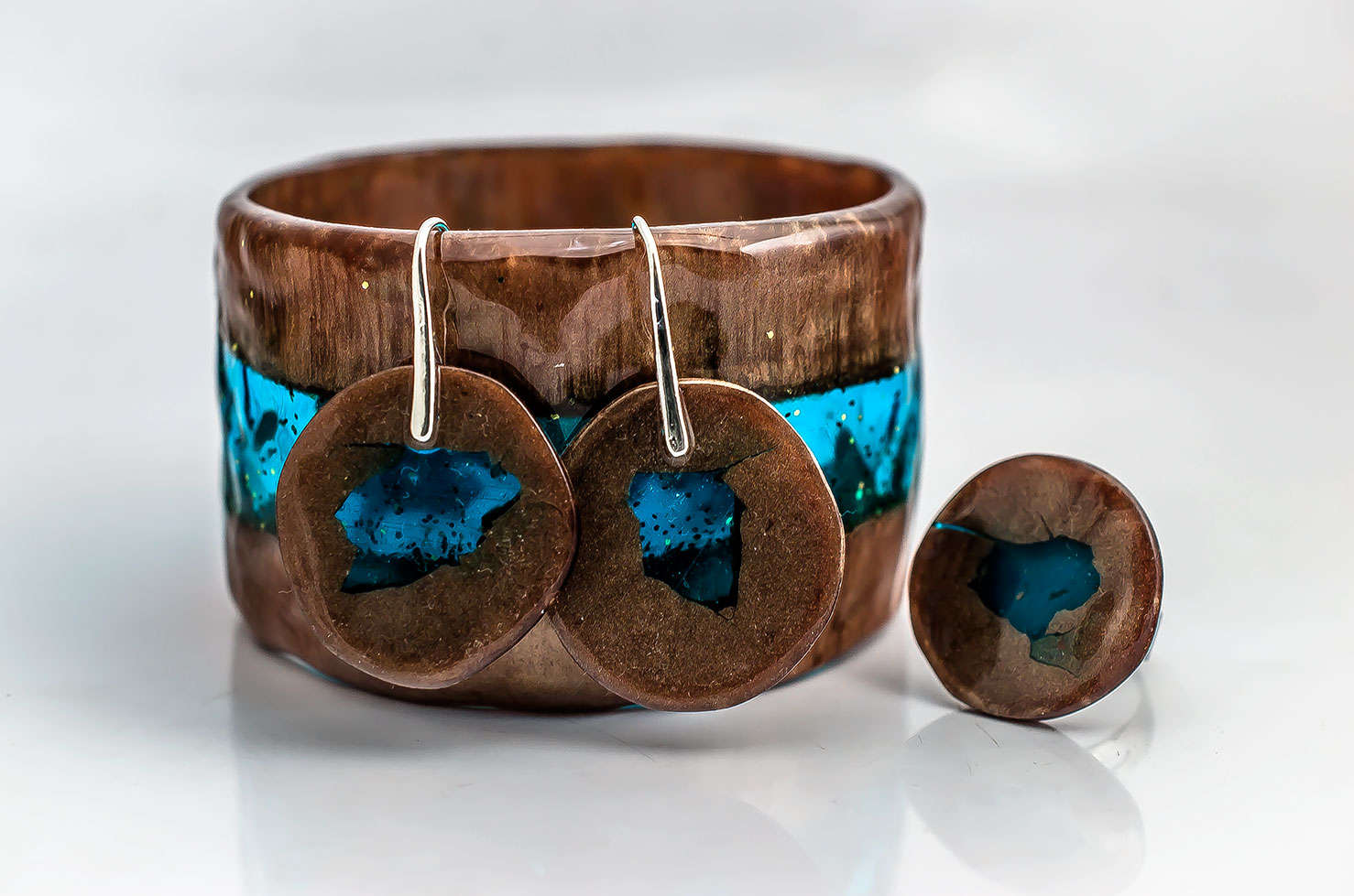 Brown Blue Resin Set by PAGANE uniques