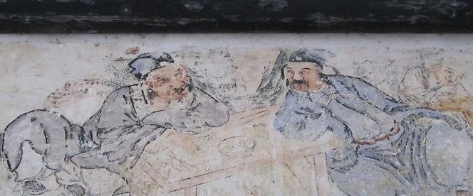 在香溪堡裡的一間廟宇中,一幅清朝的原始壁畫仍清晰可見。
