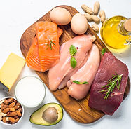 Ketogenic low carbs diet. Meat, fish, nu