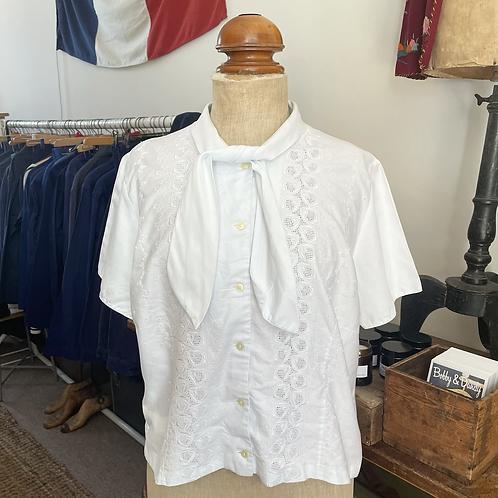 True Vintage 1950s/60s Embroidered Cotton Blouse UK14 16 L