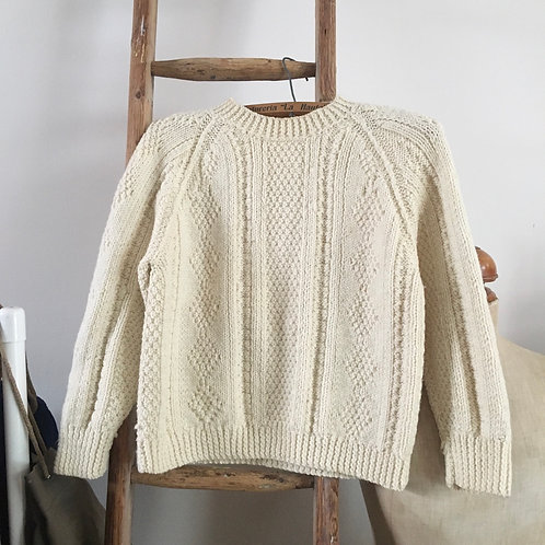 True Vintage Wool Cable Hand Knitted Sweater S M