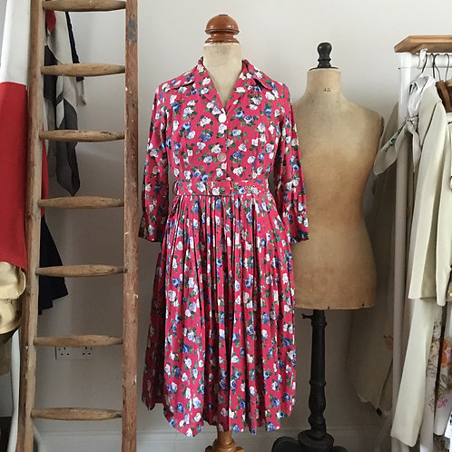 "True Vintage 1950s Floral Cotton Belted Dress W28"" UK8 10"
