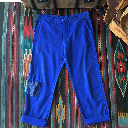 "Vintage French Cobalt Cotton Workwear Trousers W36"" 38"""