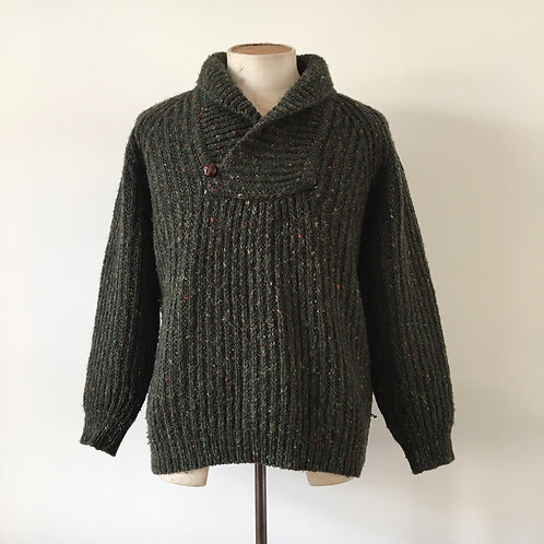 Vintage Knitted Shawl Collar Sweater M L