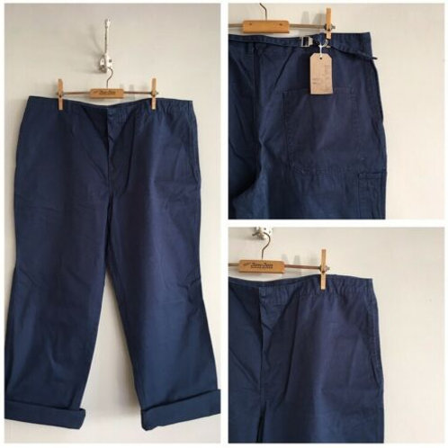 """Vintage Cotton Cinch Back Air Force Blue Workwear Trousers W39"""""""