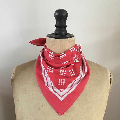 True Vintage Cotton Neckerchief Scarf/ Pink- Red