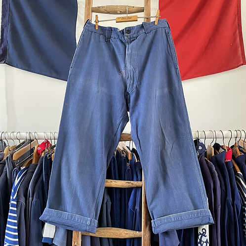 """True Vintage 1940s French 'Vulcain' Cotton Twill Workwear Trousers W32"""" 34"""""""