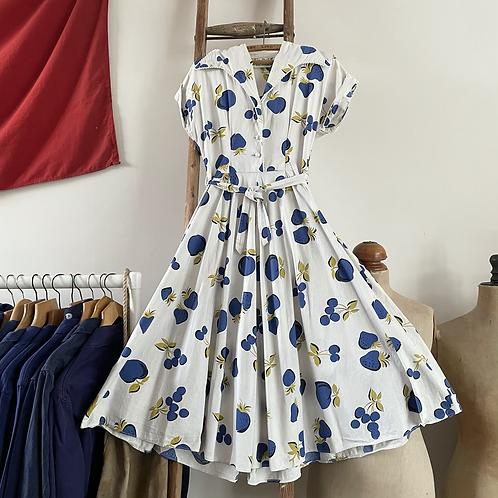 "True Vintage 1940s/50s Australian Kay Dunhill Novelty Print Dress UK12 W30"""
