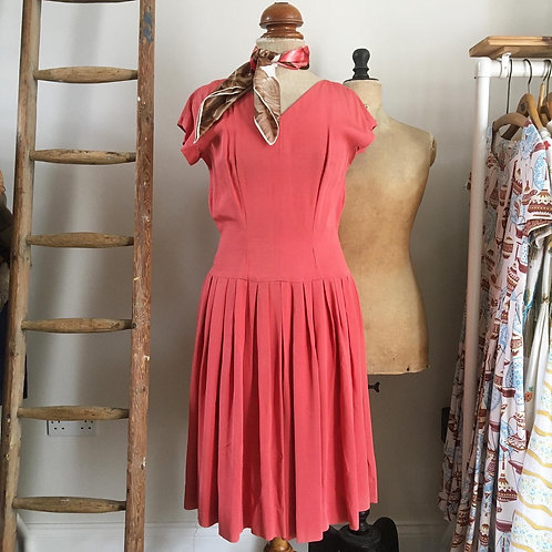 True Vintage 1940s/50s Coral Pink Grosgrain Dress UK10 12