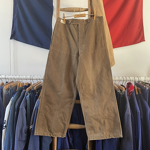 """True Vintage 1940s/ 50s Duck Canvas Cinch Back Workwear Trousers W32"""""""