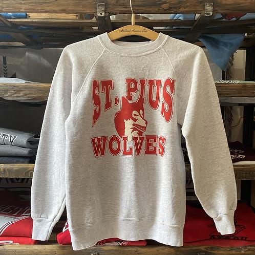 True Vintage USA 1980s St Pius Wolves Hanes Sweatshirt XS S